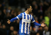 Beram Kayal, Brighton midfielder celebrates Inigo Calderon's goal during the Sky Bet Championship match between Brighton and Hove Albion and Leeds United at the American Express Community Stadium, Brighton and Hove, England on 24 February 2015.