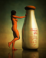 "The title of this acryl on canvas piece translates to ""milk bottle."" It is a simple title, and it would seem as though this title only provides us with a slight indication of what's going on. A classic milk bottle, which includes the writing on the bottle that thanks the consumer for returning the bottle when finished, stands. A nude woman has approached it, and she is pressing her hand against the neck of the bottle. Perhaps she is hot, and the cool milk bottle is providing something in the way of comfort. Available as t-shirts, wall art, or as interior home décor products. .<br />