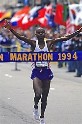 Cosmas Ndeti Crossing The Finish Line Of The Boston Marathon 1994