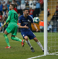 ISTANBUL, TURKEY - AUGUST 14: Jorginho (C) of Chelsea celebrates his goal during the UEFA Super Cup match between Liverpool and Chelsea at Vodafone Park on August 14, 2019 in Istanbul, Turkey. (Photo by MB Media/Getty Images)