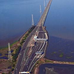 Aerial view of San Mateo Bridge, California