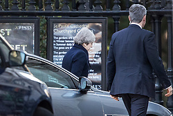 © Licensed to London News Pictures. 14/12/2017. London, UK.  Prime Minister Theresa May arrives at St Paul's Cathedral by a side door for the Grenfell Tower National Memorial Service mark the six month anniversary of the Grenfell Tower fire. The service is attended by survivors and relatives of those who lost their lives in the fire, as well as members of the emergency services and members of the Royal family. 71 people were killed when a huge fire ripped though 24-storey Grenfell Tower block in west London in June 2017. Photo credit: Peter Macdiarmid/LNP