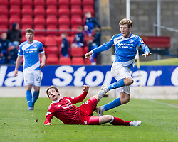 Aberdeen's Peter Pawlett and St Johnstone's David Wotherspoon. St Johnstone 1 v 2 Aberdeen. SPFL Ladbrokes Premiership game played 15/4/2017 at St Johnstone's home ground, McDiarmid Park.