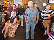 28 OCTOBER 2010 - TOLLESON, AZ: People listen to Terry Goddard at Fuego's. He brought his gubernatorial campaign to Fuego's in Tolleson for a lunch time meeting with local voters. Goddard lost the election to sitting Governor Jan Brewer, a conservative Republican.     PHOTO BY JACK KURTZ