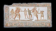 3rd century AD Roman mosaic panel of a drinking scene from Dougga, Tunisia.  The Bardo Museum, Tunis, Tunisia. Black background .<br /> <br /> If you prefer to buy from our ALAMY PHOTO LIBRARY  Collection visit : https://www.alamy.com/portfolio/paul-williams-funkystock/roman-mosaic.html - Type -   Bardo    - into the LOWER SEARCH WITHIN GALLERY box. Refine search by adding background colour, place, museum etc<br /> <br /> Visit our ROMAN MOSAIC PHOTO COLLECTIONS for more photos to download  as wall art prints https://funkystock.photoshelter.com/gallery-collection/Roman-Mosaics-Art-Pictures-Images/C0000LcfNel7FpLI