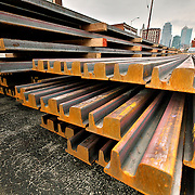Deliveries of steel rails for the Kansas City streetcar line, April 17, 2014 .