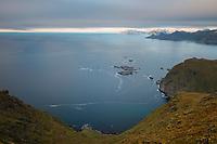 View over sea from summit of Fuglhuken mountain peak, Moskenesøy, Lofoten Islands, Norway