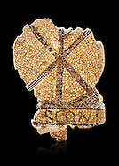 Fifth century Eastern Roman Byzantine  Christian funerary mosaic from Leptis Minus-Lemto in the Roman province of Africa Proconsularis , (Tunisian Sehel Region) dedicated to Cresconius, depicting the Christian Chi-Rho symbol used by the Roman emperor Constantine I as part of his military standard (vexillum). <br /> <br /> The Bardo National Museum, Tunis, Tunisia.  Against a black background.