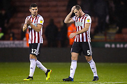 Jack O'Connell of Sheffield United and John Egan of Sheffield United cut frustrated figures - Mandatory by-line: Robbie Stephenson/JMP - 09/11/2018 - FOOTBALL - Bramall Lane - Sheffield, England - Sheffield United v Sheffield Wednesday - Sky Bet Championship