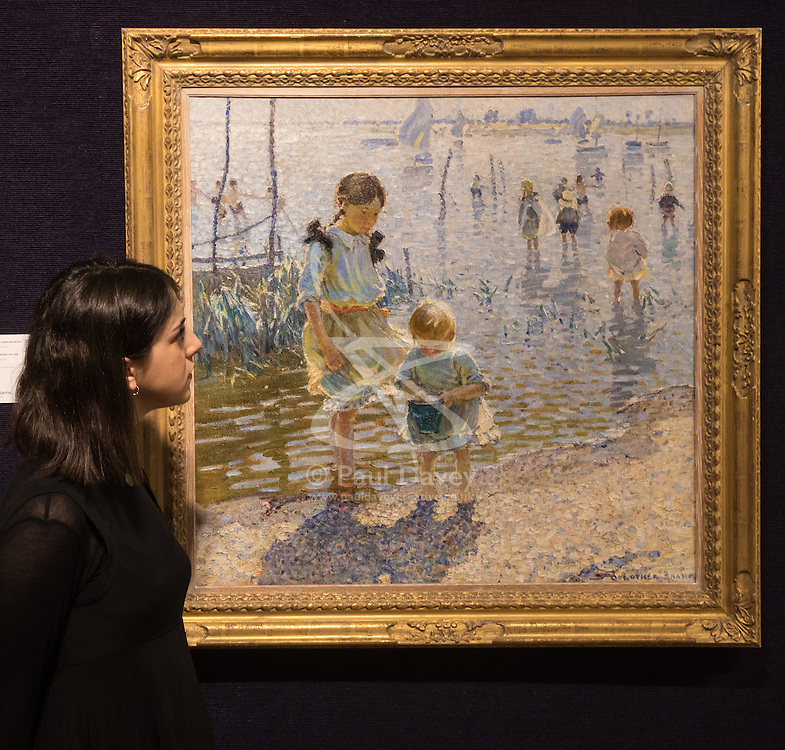 Bonhams, London, February 22nd 2017. Bonhams in London hold a press preview ahead of their 19th century paintings sale, featuring numerous valuable works including:<br /> • 'Children by the shore' by Dorothea Sharp, valued at £60,000-80,000<br /> • Barcas y pescaadores, Playa de Valencia by Joaquin Sorolla £60,000-80,000<br /> • When the Boats Come In by Walter Osborne valued at £100,000-150,000<br /> • A Solicitation by Lawrence Alma-Tadema which is expected to fetch between £30,000-50,000<br /> PICTURED: Children by the shore' by Dorothea Sharp