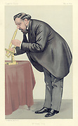 Mr Frank Crisp' (c1853-1919), English Limited Liability Lawyer one of whose personal interests was microscopy and who acted as Secretary of the Royal Microscopical Society. He is shown looking through a microscope. His other interest was Alpine gardening and in his 30 acre garden he had a model of the Matterhorn planted with alpines. Cartoon by Spy', pseudonym of Leslie Ward (1851-1922) British painter and caricaturist, from 'Vanity Fair'. (London, 31 May 1890).  Chromolithograph.