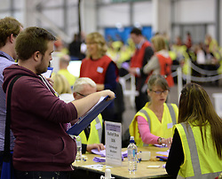 Observers watch the count at Edinburgh Western constituency, where they are fighting hard to hold off a strong challenge from Labour.<br /> © Dave Johnston/ EEm