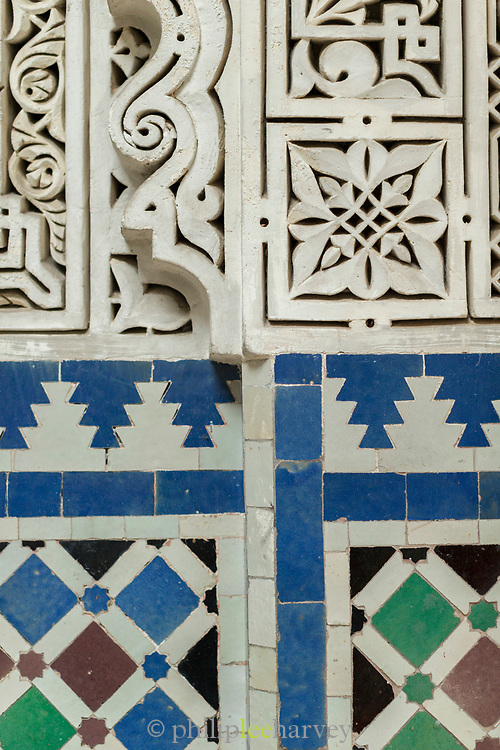 Close up of architectural detail of colorful tiles in Mahkama du Pacha, Casablanca, Morocco