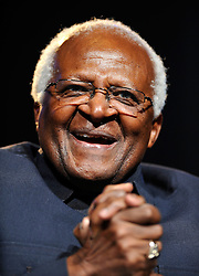 Archbishop Desmond Tutu speaks at the One Young World summit, at Old Billingsgate Market in central London.