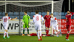 RHYL, WALES - Tuesday, March 18, 2014: Poland's Marco Drawz celebrates scoring the first goal against Wales during the Under-15's International Friendly match at Belle Vue. (Pic by David Rawcliffe/Propaganda)