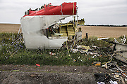 Malaysian Airlines MH17 shot down near the village of Hrabavo crash site in Donetsk Separatist zone, Eastern Ukraine