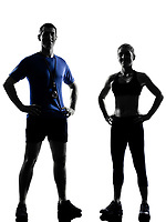 couple woman man exercising workout fitness aerobics instructors posture in silhouette studio isolated on white background