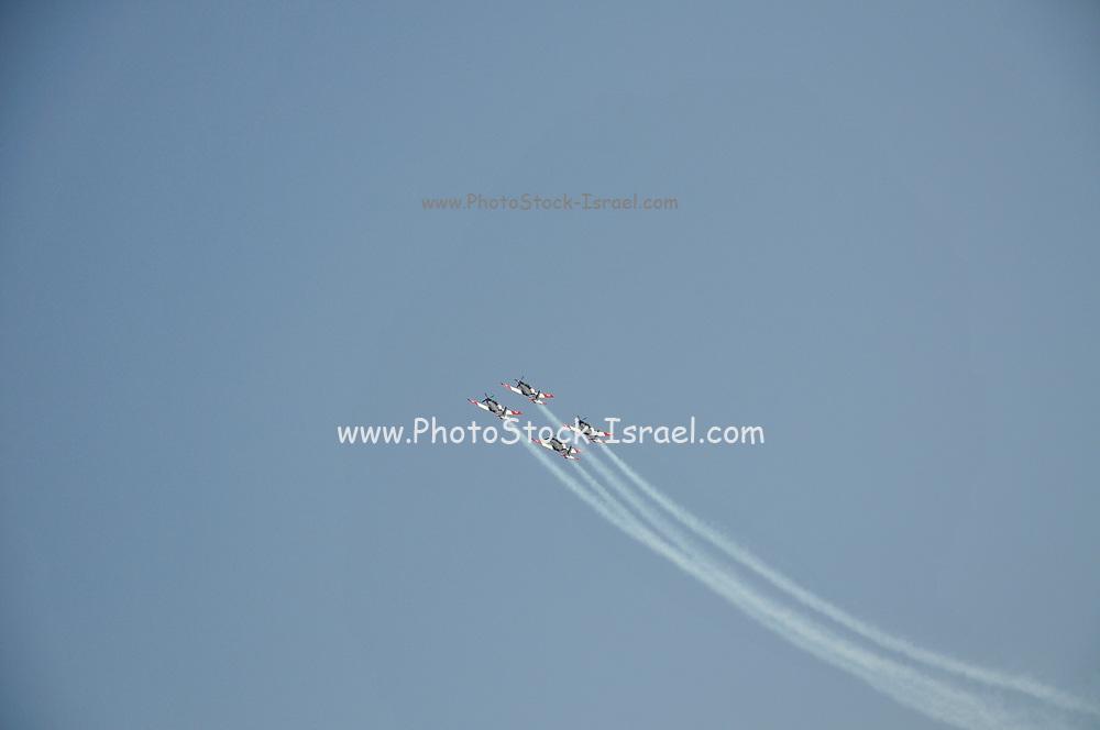 Israeli Air force (IAF) Flight Academy Beechcraft T-6A Texan II aerobatics team during a display