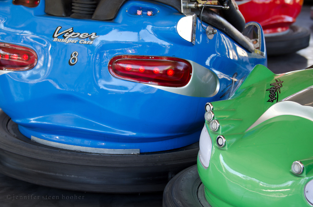 Close up view of bumper cars at a traveling fair, Blue Hill, Maine.