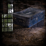 Suitcase in water