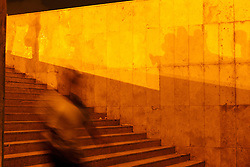People and shadows on stairway near Hassan II Mosque at night, Casablanca, Morocco