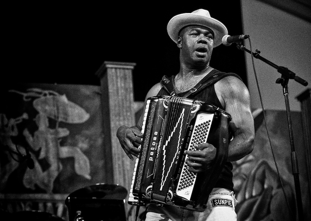 Sunpie Barnes of Sunpie and The Louisiana Sunspots performing in the Blues Tent at the 2011 New Orleans Jazz & Heritage Festival at the Fair Grounds Race Course in New Orleans, LA. USA.