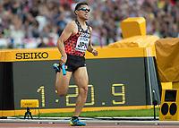 Athletics - 2017 IAAF London World Athletics Championships - Day Nine, Morning Session<br /> <br /> Mens 4 x 400 Relay - Round 1<br /> <br /> Yuzo Kanemuru  (Japan) at the London Stadium<br /> <br /> COLORSPORT/DANIEL BEARHAM