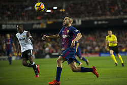 November 26, 2017 - Valencia, Valencia, Spain - Jordi Alba during the match between Valencia CF vs. FC Barcelona, week 13 of La Liga at Mestalla Stadium, Valencia, SPAIN on 26th November 2017. (Credit Image: © Jose Breton/NurPhoto via ZUMA Press)