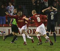 Photo: Mark Stephenson.<br />Walsall v Bristol Rovers. Coca Cola League 2. 30/12/2006.<br />Walsall's Hector Sam scores.