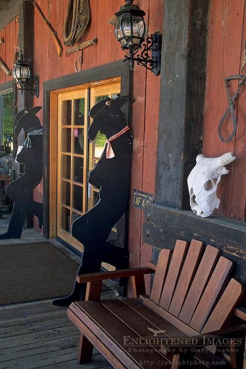 Rustic western decor at entrance to Tobin James Cellars, Paso Robles, San Luis Obispo County, California