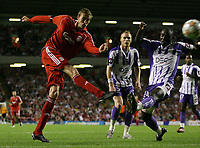 Photo: Paul Thomas.<br /> Liverpool v Toulouse. UEFA Champions League Qualifying. 28/08/2007.<br /> <br /> Peter Crouch of Liverpool shoots for goal.