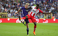 Sebastiaan Bornauw and Frantzdy Pierrot fight for the ball during the Jupiler Pro League matchday 4 between Rsc Anderlecht and Excel Mouscron on August 17, 2018 in Brussels, Belgium, Photo by Vincent Van Doornick / Isosport/ Pro Shots / ProSportsImages / DPPI