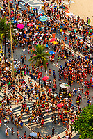 High angle view of  people gathering for a concert during Carnaval along Avenida Atlantica,  Copacabana Beach, Rio de Janeiro, Brazil.