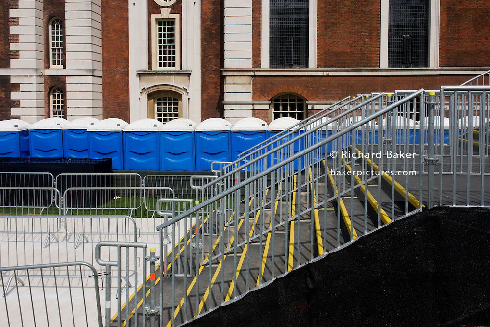 Portaloos and stairs seen before spectators leave Equestrian events at the old Royal Naval College, Greenwich on day 4 of the London 2012 Olympic Games. The final bill for the 2012 Olympics could be ten times higher than the original estimate, according to an investigation. The predicted cost of the games when London won the bid in 2005 was £2.37billion. That figure has now spiralled to more than £12billion and could reach as much as £24billion, the Sky Sports investigation claims. The Olympics public sector funding package, which covers the building of the venues, security and policing, was upped to around £9.3bn in 2007. ..