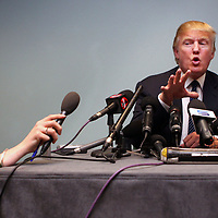 Donald Trump holds a press conference after he spoke at the Local public inquiry into the Trump application at the Menie Estate, Balmedie. Boyd Orr hall at the Aberdeen Exhibition and Conference Centre Aberdeen.PRESS ASSOCIATION Photo:Photo date:Tuesday 10 June,2008.See PA story.Photo credit should read David Cheskin/PA wire.