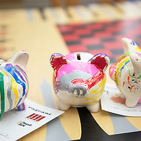 Decorated piggy banks at the piggy bank pageant at the Octavia Fellin Public Library Children's Branch, Wednesday, Jan. 30. Photos of the piggy banks will be posted on social media and the winner gets a saving account opened in their name.