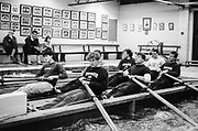 """London, United Kingdom.  Oxford University Boat Club, Training Camp at St Paul's School, Hammersmith 2-12 Jan. 1990, Photography days 3 and 6th Jan. The squad using the """"Tank"""" under the supervision<br /> <br /> [Mandatory Credit. Peter SPURRIER Intersport Images}.<br /> <br /> Blue Boat. W, M Gaffney J J Heathcote D G Miller R J Obholzer M C Pinsent J W C Searle T G Slocock M W Watts."""