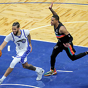 ORLANDO, FL - APRIL 12: Michael Carter-Williams #7 of the Orlando Magic grabs the loose ball in front of DeMar DeRozan #10 of the San Antonio Spurs during the second half at Amway Center on April 12, 2021 in Orlando, Florida. NOTE TO USER: User expressly acknowledges and agrees that, by downloading and or using this photograph, User is consenting to the terms and conditions of the Getty Images License Agreement. (Photo by Alex Menendez/Getty Images)*** Local Caption *** Michael Carter-Williams;  DeMar DeRozan