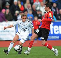 Fotball NM Cup Stjørdalsblink - Rosenborg<br /> Øverlands Minde, Stjørdal 13 mai 2010<br /> <br /> Jonas Svensson, Rosenborg og Håvard Fuglem, StjørdalsBlink<br /> <br /> Foto : Arve Johnsen, Digitalsport