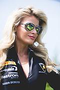 June 28 - July 1, 2018: Lamborghini Super Trofeo Watkins Glen. Grid girl, 71 JC Perez, Loris Spinelli, P1 Motorsports, Lamborghini Broward Lamborghini Huracan Super Trofeo EVO