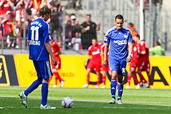 30.04.2010,  Rhein Energie Stadion, Koeln, GER, 1.FBL, FC Koeln vs Bayer 04 Leverkusen, 31. Spieltag, im Bild: Stefan Kießling (Leverkusen #11)  (L) und Renato Augusto (Leverkusen #10) (R) sind entaeuscht / entäuscht  nach dem 1:0 von Milivoje Novakovic (Koeln #11), der im Hintergrund jubelt EXPA Pictures © 2011, PhotoCredit: EXPA/ nph/  Mueller       ****** out of GER / SWE / CRO  / BEL ******