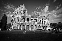Black and white photo of the Colosseum in Rome, Italy.