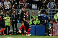 Mario Mandzukic of Croatia celebrates his 2-1 winning goal with Ivan Perisic during the 2018 FIFA World Cup Russia, semi-final football match between Croatia and England on July 11, 2018 at Luzhniki Stadium in Moscow, Russia - Photo Thiago Bernardes / FramePhoto / ProSportsImages / DPPI