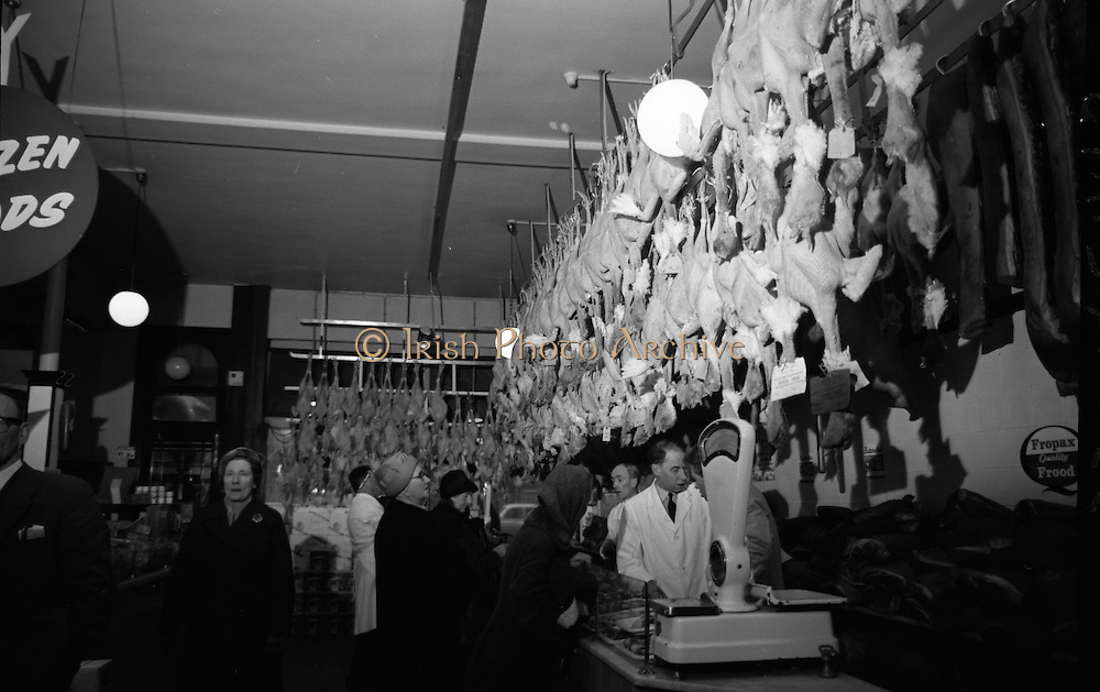 Findlaters, O'Connell Street, Dublin..1964..16.12.1964..12.16.1964..16th December 1964..For years Findlaters of O'Connell Street has been synonymous with the Christmas food market. Famous for its food the shop takes on a new appearance with the influx of turkeys and hams for the Christmas festivities...Picture of the interior of Findlaters, O'Connell Street as the staff do brisk Christmas business against the backdrop of some of the turkeys which will grace dinner tables all over the city.