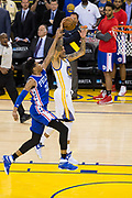 Golden State Warriors forward Matt Barnes (22) attempts to dunk the ball during a fast break against the Philadelphia 76ers at Oracle Arena in Oakland, Calif., on March 14, 2017. (Stan Olszewski/Special to S.F. Examiner)