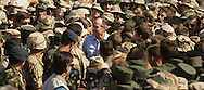 Bush visits the troops in the Gulf during the build up for the Gulf War...Photograph by Dennis Brack bb24