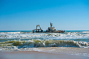 Zelia India shipwreck, south of Henties Bay, on Skeleton Coast in the northern part of the Atlantic coast of Namibia