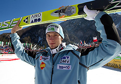 Second placed Robert Kranjec of Slovenia at flower ceremony after the Flying Hill Individual at 4th day of FIS Ski Jumping World Cup Finals Planica 2011, on March 20, 2011, Planica, Slovenia. (Photo by Vid Ponikvar / Sportida)