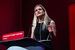 © Licensed to London News Pictures. 29/09/2021. Brighton, UK. KIM LEADBEATER speaks at the conference . The final day of the 2021 Labour Party Conference , which is taking place at the Brighton Centre . Photo credit: Joel Goodman/LNP