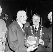12/05/1961<br /> 05/12/1961<br /> 12 May 1961<br /> Plaque to presented to Lord Iveagh of the Guinness family by the Lord Mayor at the hospitality suite in Guinness, Dublin.